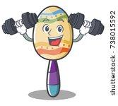 fitness maracas character... | Shutterstock .eps vector #738015592