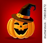 halloween. pumpkin with hat.... | Shutterstock .eps vector #738018172