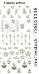 set of 5 vector patterns with... | Shutterstock .eps vector #738021118