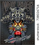vintage wolf motorcycle label   Shutterstock .eps vector #738026716