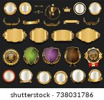 retro vintage golden badges... | Shutterstock .eps vector #738031786