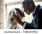 newlywed african descent groom... | Shutterstock . vector #738035902