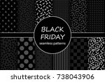 cute set of black friday sale... | Shutterstock .eps vector #738043906