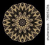 hand drawn gold mandala on a... | Shutterstock .eps vector #738051256