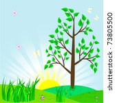 landscape with tree and sun.... | Shutterstock .eps vector #73805500