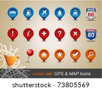 gps and map icon set. vector... | Shutterstock .eps vector #73805569