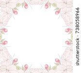 decorative frame with sakura... | Shutterstock .eps vector #738058966