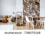 bright warm living room with... | Shutterstock . vector #738070168