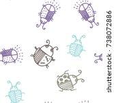seamless bugs cartoon pattern.... | Shutterstock .eps vector #738072886