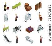 wine production isometric set...   Shutterstock .eps vector #738073882