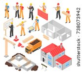 construction isometric set with ... | Shutterstock .eps vector #738073942