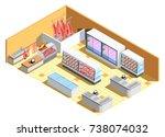 butcher shop interior isometric ... | Shutterstock .eps vector #738074032