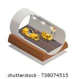 finishing tunnel construction... | Shutterstock .eps vector #738074515