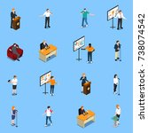 public speaking isometric icons ... | Shutterstock .eps vector #738074542