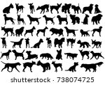 isolated  silhouette of a dog... | Shutterstock . vector #738074725