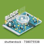 modern safe virtual payments... | Shutterstock .eps vector #738075538