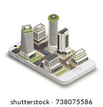 smart city center tower...   Shutterstock .eps vector #738075586