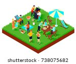 bbq picnic with friends  songs... | Shutterstock .eps vector #738075682