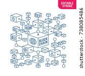 blockchain network concept.... | Shutterstock .eps vector #738085486