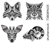 set of patterned heads of lynx  ... | Shutterstock .eps vector #738089635
