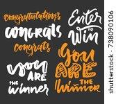 congratulations. enter to win....   Shutterstock .eps vector #738090106