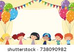 border template with kids and... | Shutterstock .eps vector #738090982