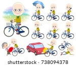 set of various poses of yellow... | Shutterstock .eps vector #738094378