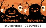 border template with halloween... | Shutterstock .eps vector #738095536
