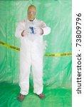 man in hazmat clothing in... | Shutterstock . vector #73809796