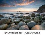 sunset at porth nanven beach... | Shutterstock . vector #738099265