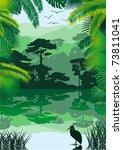 vector morning in jungle lake... | Shutterstock .eps vector #73811041