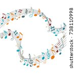 music notes on a solide white... | Shutterstock .eps vector #738110998