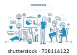 conducting business conferences ... | Shutterstock . vector #738116122