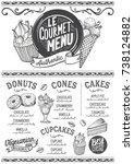 dessert menu for restaurant and ... | Shutterstock .eps vector #738124882