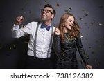 couple dancing in studio shot  | Shutterstock . vector #738126382