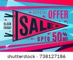 sale banner design. black... | Shutterstock .eps vector #738127186