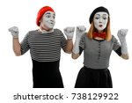 male and female mimes showing a ... | Shutterstock . vector #738129922