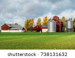 Red Farm Buildings With...