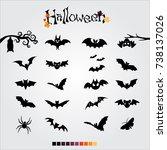 bats set for halloween | Shutterstock .eps vector #738137026
