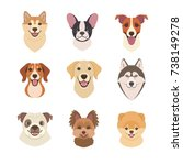 dogs faces collection. vector... | Shutterstock .eps vector #738149278