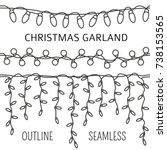 christmas light garlands set.... | Shutterstock .eps vector #738153565