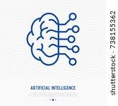 artificial intelligence thin... | Shutterstock .eps vector #738155362