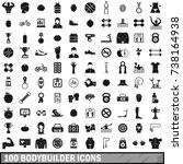 100 bodybuilder icons set in... | Shutterstock . vector #738164938