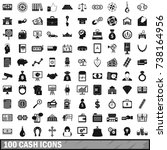 100 cash icons set in simple... | Shutterstock . vector #738164956