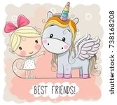 cute cartoon girl and unicorn... | Shutterstock . vector #738168208