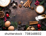 christmas baking background.... | Shutterstock . vector #738168832