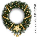 christmas wreath with fir... | Shutterstock .eps vector #738169582