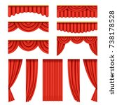 set of red curtains with... | Shutterstock .eps vector #738178528