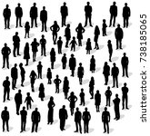 silhouette people group stand ... | Shutterstock .eps vector #738185065