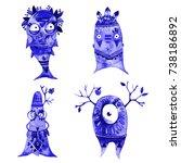 boho monsters set. hand drawn... | Shutterstock . vector #738186892